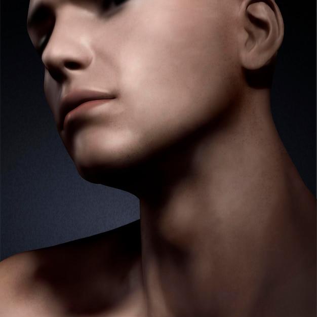 Mire de cerca a un hombre guapo para el diseño de concepto de cuidado de la piel, ilustración 3d