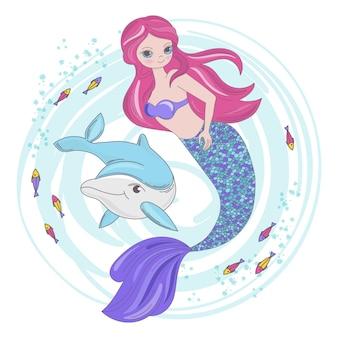 Mirmaid fairy dibujos animados de animales tropicales