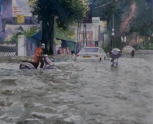 Miseria de la carretera de acuarela en inundaciones vista del paisaje