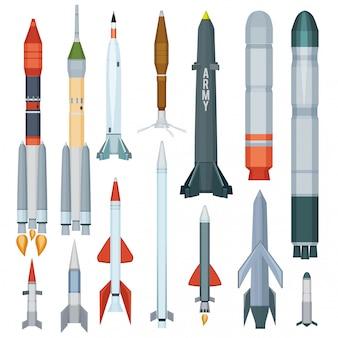 Misil del ejército. armadura de vuelo hélice cohete motor arma tecnología militar colección de guerra