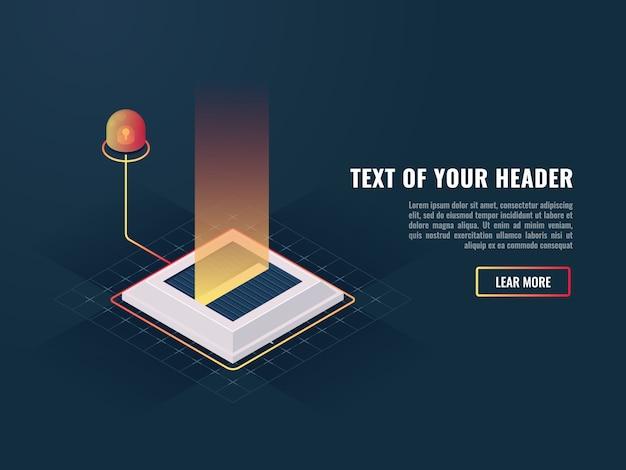Misil mina con el indicador anormal, concepto de presentación nuevo producto digital