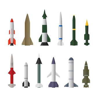 Misiles de aviones cohete en diferentes tipos aislado sobre un fondo blanco.