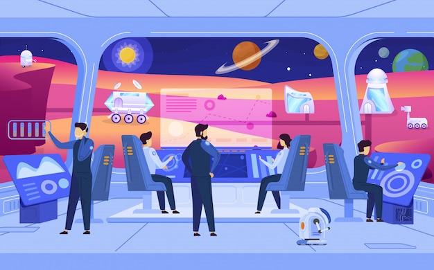 Misión de colonización del planeta, personas en la estación espacial, personajes de dibujos animados de ciencia ficción, ilustración