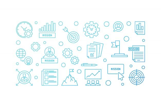 Misión horizontal esquema creativo banner. ilustración del icono
