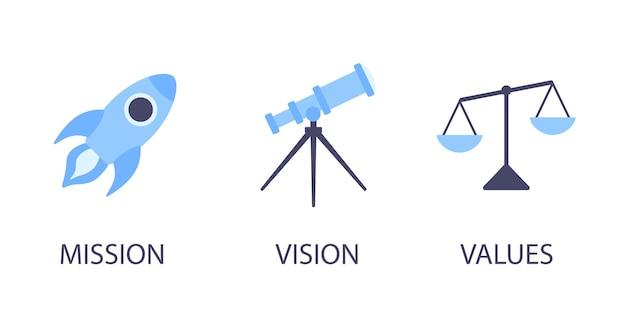 Misión visión y valores iconos de diseño de estilo plano signos conceptos web conjunto de ilustraciones vectoriales