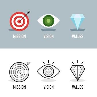 Misión. visión. valores. plantilla de página web. concepto de diseño plano moderno. conjunto de iconos de empresa.