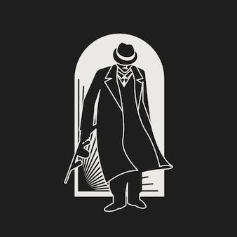 Misterioso personaje de gángster / mafia