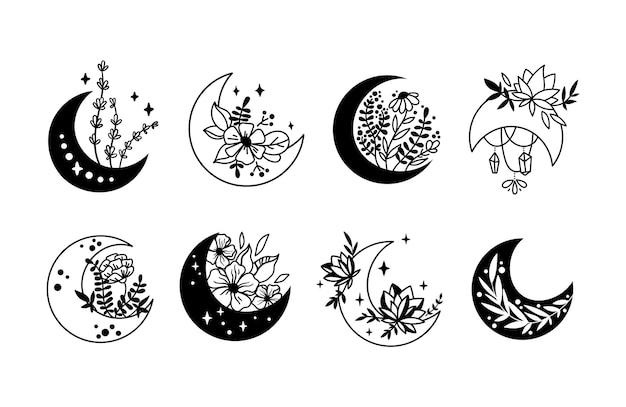 Místico boho floral luna aislado cliparts paquete celestial colección luna y conjunto de flores