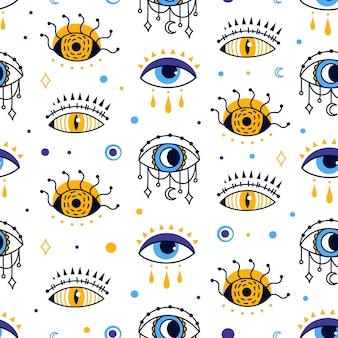 Místico mal de ojo de patrones sin fisuras fondo abstracto esotérico providencia magia vector textura