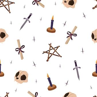 Mistyc de patrones sin fisuras con elementos de diseño de brujería. ilustración de dibujado a mano de vector.