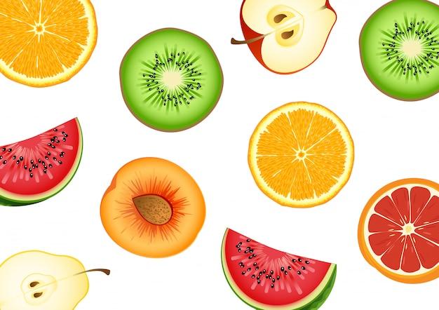La mitad de la fruta cortada tiene una variedad de tipos. sandía, naranjas, manzana, muchas. ilustraciones vectoriales