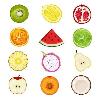 Mitad de frutas. albaricoque cereza fresas melocotón saludable en rodajas icono de alimentos naturales en formas de círculo.