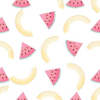 Mitades y rodajas de melón. patrón sin costuras de verano.