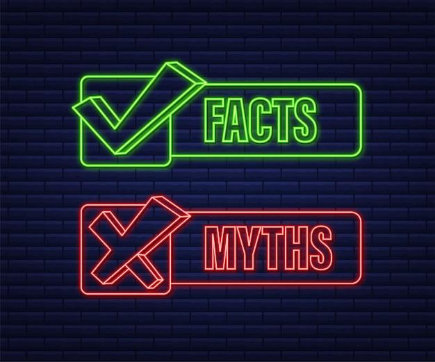 Mitos hechos. hechos, gran diseño para cualquier propósito. icono de neón. ilustración de stock vectorial.