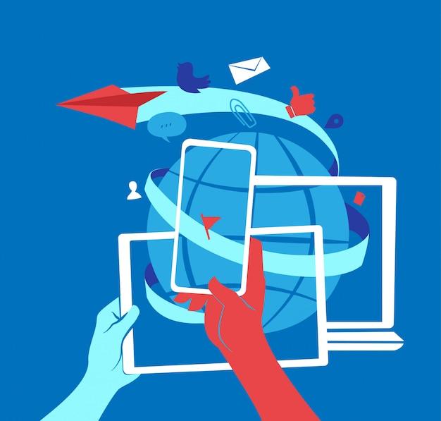 Mmarketing de redes sociales e ilustración de comunicación global