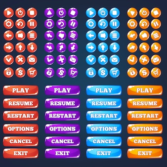 Mobile game ui, colección de vectores de icong y botones