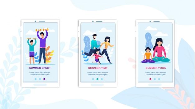 Mobile summer sport, running y yoga ejercicio de landing page.