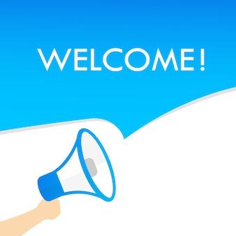 Mobilehand sosteniendo megáfono con texto de bienvenida. anuncio. altoparlante. banner para negocios, marketing y publicidad. vector sobre fondo aislado. eps 10.
