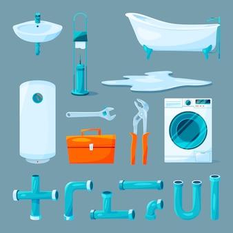 Mobiliario de aseo y baño, tubería y equipos diferentes para trabajos de fontanería.