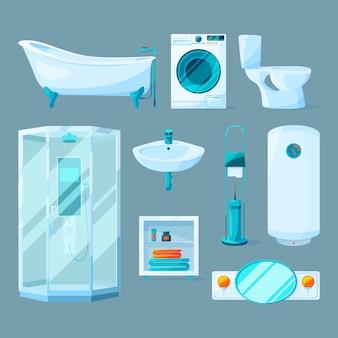 Mobiliario interior de baño y equipamiento diferente. ilustraciones de vectores en estilo de dibujos animados