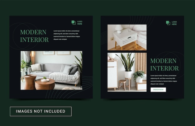 Mobiliario interior de bienes raíces plantilla de redes sociales flyer cuadrado banner post estilo minimalista