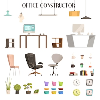 Mobiliario interior moderno y accesorios iconos de estilo de dibujos animados para la renovación de la oficina de moda