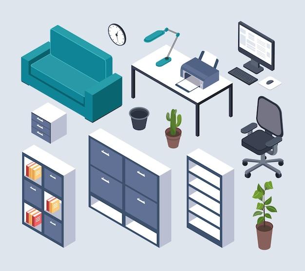 Mobiliario isométrico. escritorio de oficina con monitor, ratón y lámpara, impresora y reloj, sillón. sofá, planta en maceta.