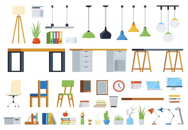 Mobiliario de oficina, accesorios y plantas. kit de creación de puesto de trabajo. conjunto de elementos vectoriales