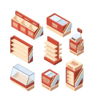 Mobiliario de tienda de abarrotes. almacene las herramientas del supermercado isométricas del vector del carro de la compra de la caja registradora de los estantes del refrigerador. ilustración nevera comercial para compras, supermercado congelador.