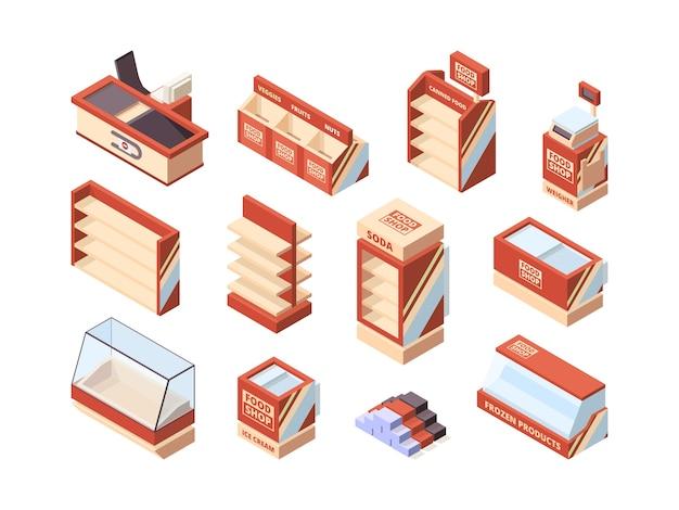 Mobiliario de tienda de abarrotes. cuadros de pago estantes carritos de compras frigoríficos supermercado artículos isométricos vector