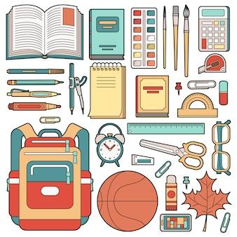 Mochila de colegial y material escolar.
