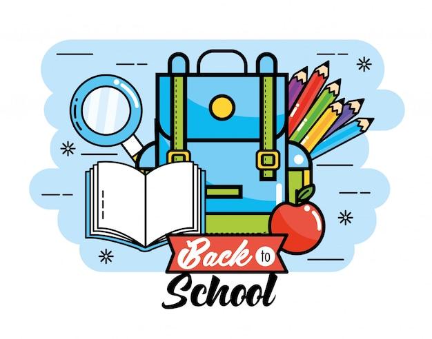 Mochila con lápices de colores y libro para volver a la escuela.