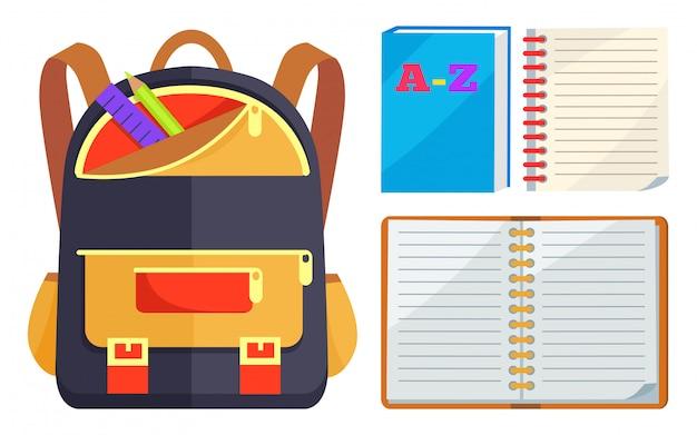 Mochila para niños con cuaderno abierto abc