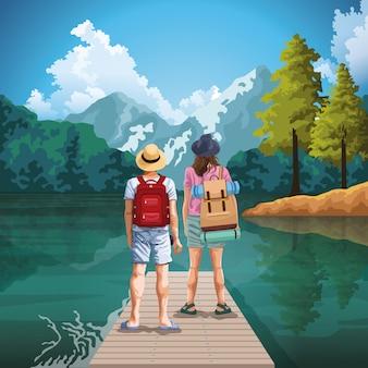 Mochila pareja de viajeros en dibujos animados de la naturaleza dibujo arte