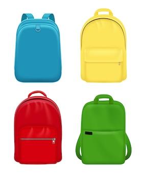 Mochila realista. mochila escolar objetos de maqueta de equipaje de viaje de cuero personal