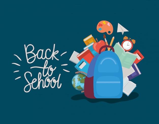 Mochila y suministros de regreso a la escuela.