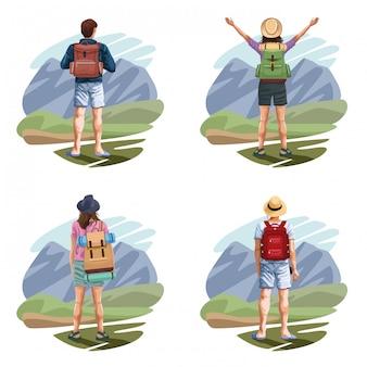 Mochila viajeros dibujos animados de jóvenes turistas
