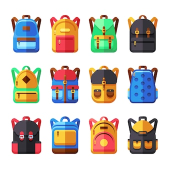 Mochilas escolares conjunto de vectores. mochila infantil colección plana. ilustración mochila y mochila