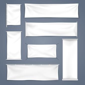 Mock blanco hasta textil y enrollar banner con pliegues, ilustración vectorial