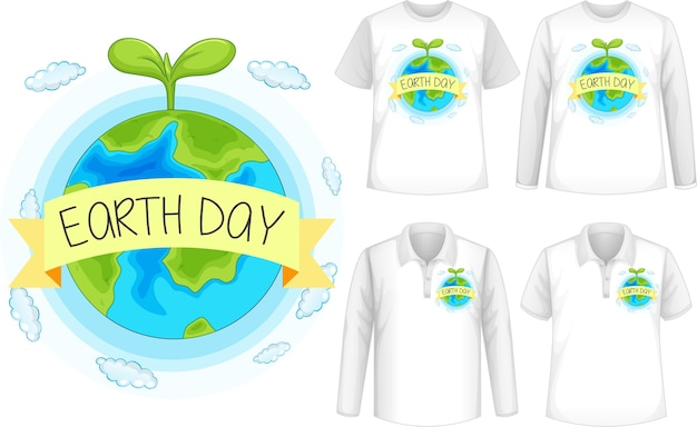 Mock up camiseta con icono de planeta
