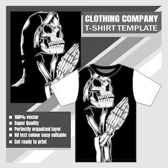 Mock up empresa de ropa diseño de camiseta cráneo mujer rezar