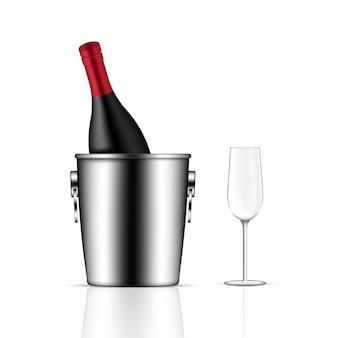 Mock up realista botella de vino