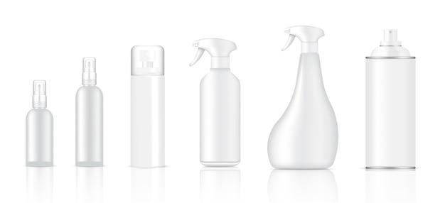 Mock up realista de vidrio o productos de embalaje de aerosol de plástico