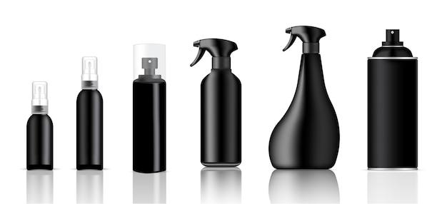 Mock up realistic black plastic spray