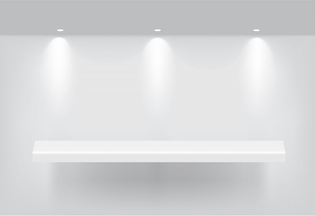 Mock up realistic empty shelf for interior to show product