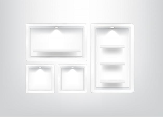 Mock up realistic empty square shelf