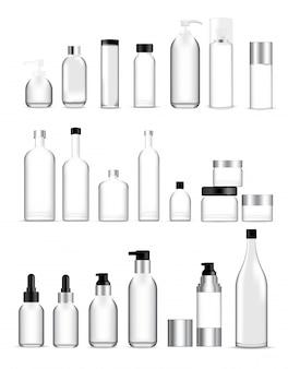 Mock up realistic glass bottles