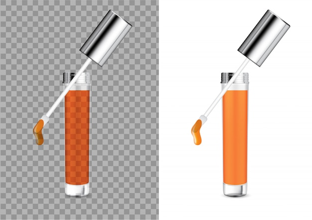 Mock up realistic transparent bottle cosmetic lip bloss bálsamo