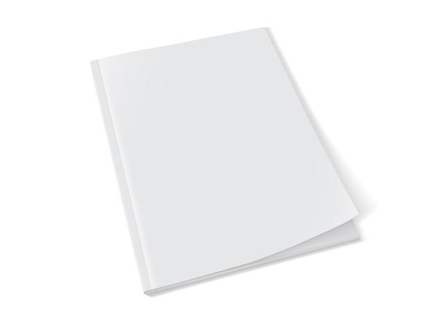 Mock up revista blanca de pie sobre fondo blanco.