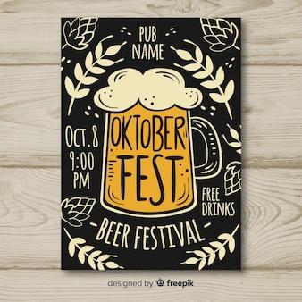 Mockup de cartel para el oktoberfest dibujado a mano